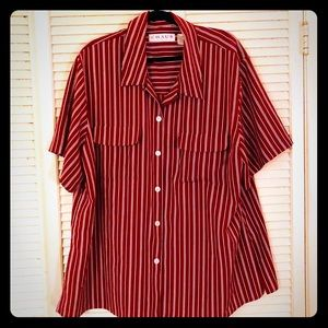 {Chaus}PLUS short-sleeve red/white stripe blouse